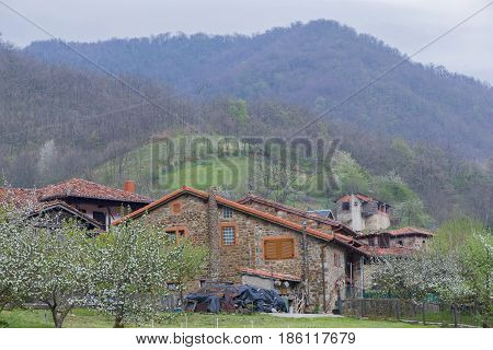 The Town Of Espinama In The Peaks Of Europe