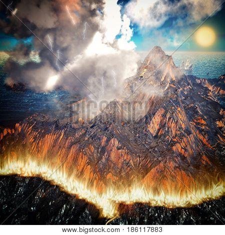 Burning caldera of the volcano 3d rendering