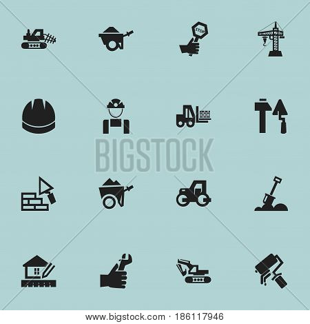Set Of 16 Editable Construction Icons. Includes Symbols Such As Caterpillar, Oar, Home Scheduling And More. Can Be Used For Web, Mobile, UI And Infographic Design.