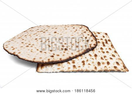 Two Matzah On White