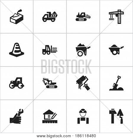 Set Of 16 Editable Construction Icons. Includes Symbols Such As Hands , Scrub, Oar. Can Be Used For Web, Mobile, UI And Infographic Design.