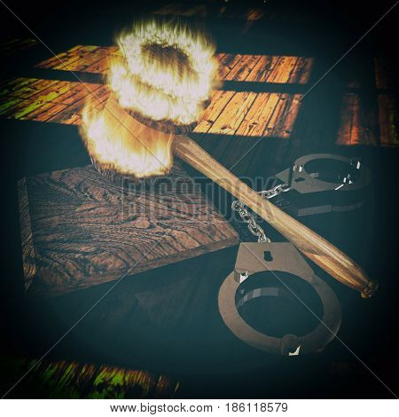 handcuffs and burning gavel 3d illustration