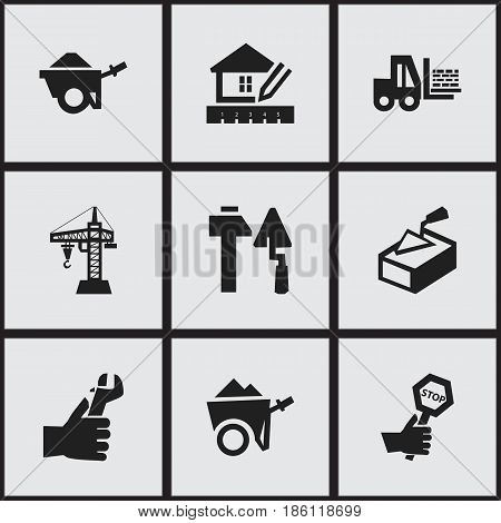 Set Of 9 Editable Structure Icons. Includes Symbols Such As Elevator, Truck, Spatula And More. Can Be Used For Web, Mobile, UI And Infographic Design.