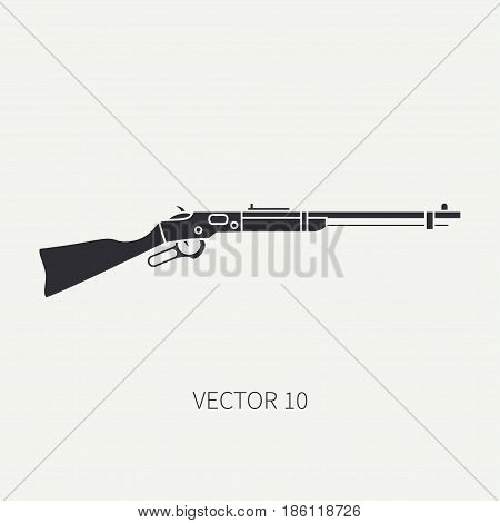 Silhouette. Line flat vector military icon rifle, carbine. Army equipment and armament. Legendary retro weapon. Cartoon. Assault. Soldiers. Slug. War. Illustration and element for design and wallpaper