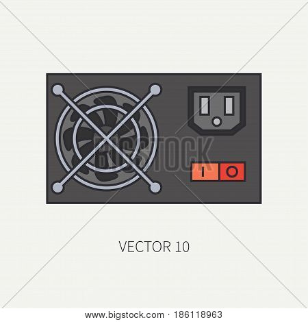 Line flat color vector computer part icon power supply. Cartoon. Digital gaming and business office pc desktop device. Innovation gadget. Hardware. Fan. Illustration and element for design, wallpaper.