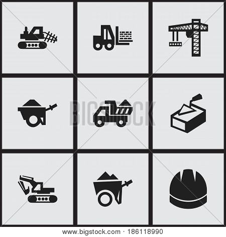 Set Of 9 Editable Structure Icons. Includes Symbols Such As Excavation Machine , Hardhat , Handcart. Can Be Used For Web, Mobile, UI And Infographic Design.