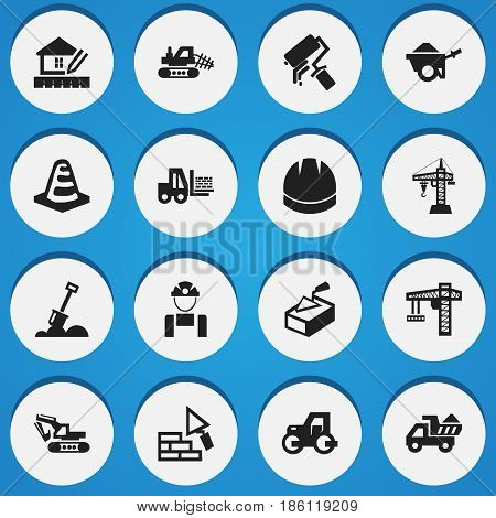Set Of 16 Editable Structure Icons. Includes Symbols Such As Oar, Employee, Excavation Machine And More. Can Be Used For Web, Mobile, UI And Infographic Design.