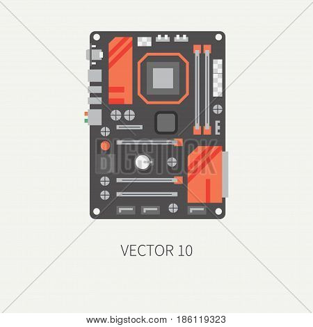 Plain flat color vector computer part icon motherboard. Cartoon. Digital gaming and business office pc desktop device. Innovation gadget. Graphic chip. Illustration and element for design, wallpaper.