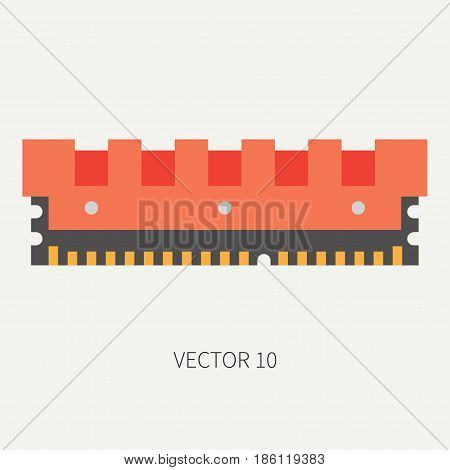 Plain flat color vector computer part icon data storage. Cartoon. Digital gaming and business office pc desktop device. Innovation gadget. Ddr. Internet. Illustration and element for design, wallpaper