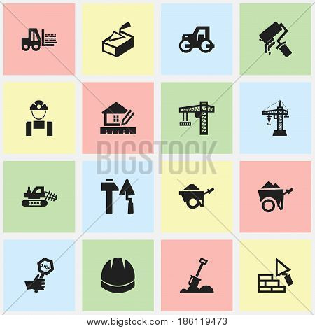 Set Of 16 Editable Structure Icons. Includes Symbols Such As Home Scheduling, Scrub, Lifting Equipment And More. Can Be Used For Web, Mobile, UI And Infographic Design.