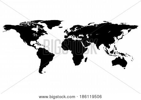 Worldmap template silhouette. World map for infographic. Vector illustration isolated on white