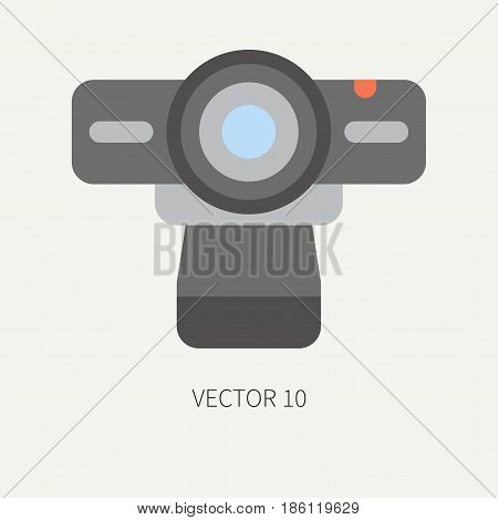 Plain flat color vector computer part icon web camera. Cartoon. Digital gaming and business office pc desktop device. Innovation gadget. Stream. Internet. Illustration and element for design wallpaper
