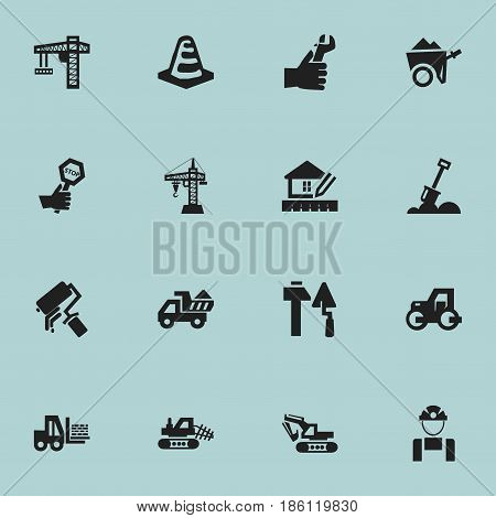 Set Of 16 Editable Structure Icons. Includes Symbols Such As Construction Tools, Elevator, Truck And More. Can Be Used For Web, Mobile, UI And Infographic Design.