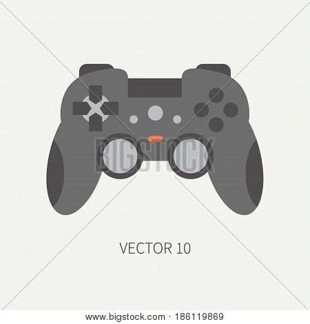 Plain flat color vector computer part icon joystick. Cartoon. Digital gaming and business office pc desktop device. Innovation gadget. Console gamepad. Illustration and element for design, wallpaper.