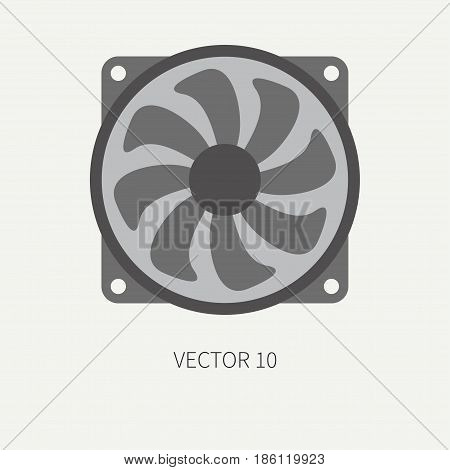 Plain flat color vector computer part icon cooling fan. Cartoon. Digital gaming and business office pc desktop device. Innovation gadget. Hardware. Flow. Illustration and element for design, wallpaper