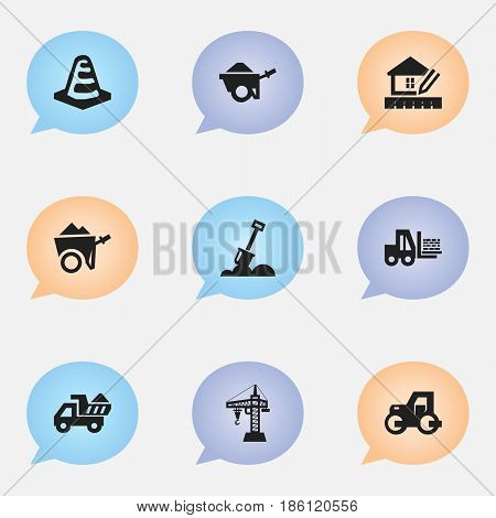 Set Of 9 Editable Building Icons. Includes Symbols Such As Handcart , Truck , Home Scheduling. Can Be Used For Web, Mobile, UI And Infographic Design.