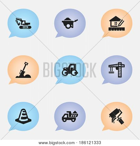 Set Of 9 Editable Building Icons. Includes Symbols Such As Caterpillar, Lifting Equipment, Excavation Machine And More. Can Be Used For Web, Mobile, UI And Infographic Design.