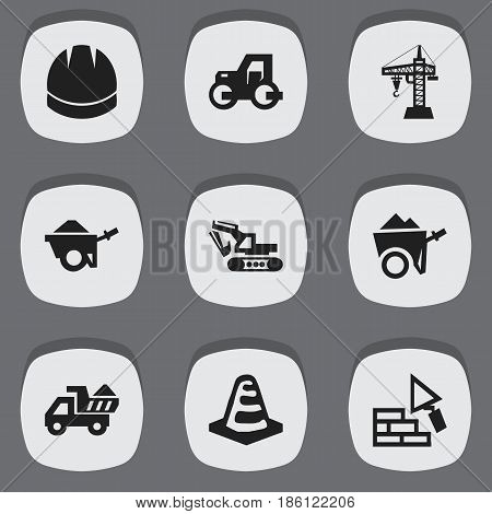 Set Of 9 Editable Building Icons. Includes Symbols Such As Handcart , Hardhat , Facing. Can Be Used For Web, Mobile, UI And Infographic Design.