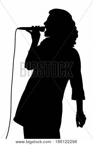Female singing. Isolated white background. EPS file available.