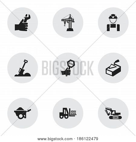Set Of 9 Editable Structure Icons. Includes Symbols Such As Oar, Excavation Machine, Trolley And More. Can Be Used For Web, Mobile, UI And Infographic Design.