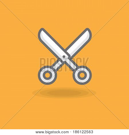 Vector icon a hairdresser scissors. Illustration of hairdressing scissors for cutting hair on a colored background