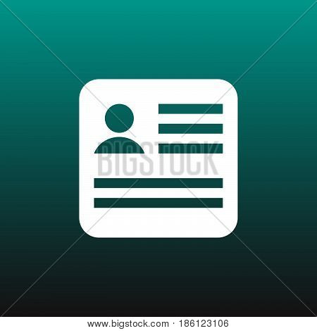 cv vector icon isolated on green background