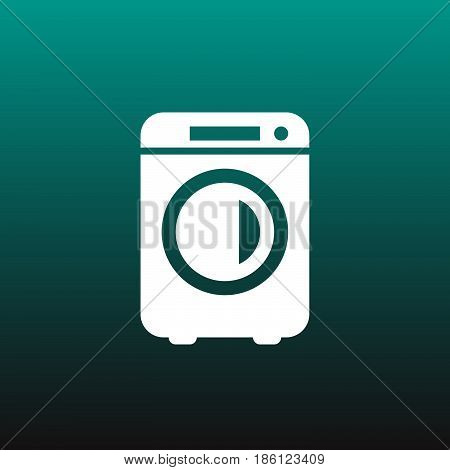 washer vector icon isolated on green background