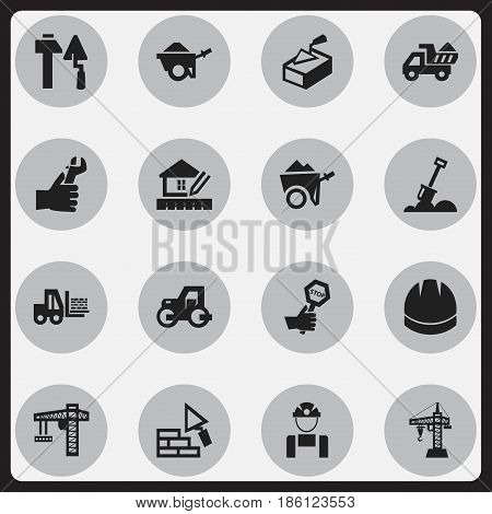 Set Of 16 Editable Structure Icons. Includes Symbols Such As Endurance, Construction Tools, Elevator And More. Can Be Used For Web, Mobile, UI And Infographic Design.