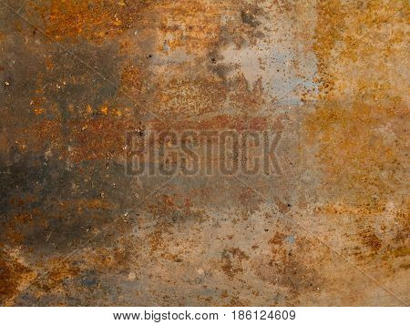 Aged rusted metallic background with spots and motes