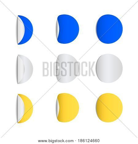 Round sticky papers  with curved corners blank stickers set realistic