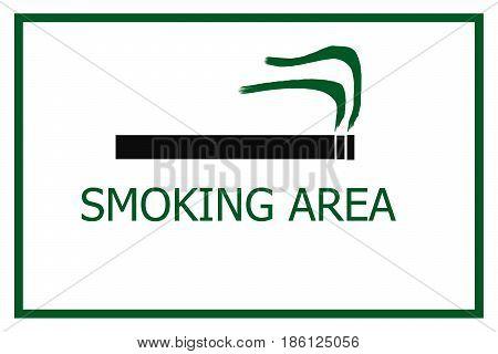 smoking area sign isolated on white background