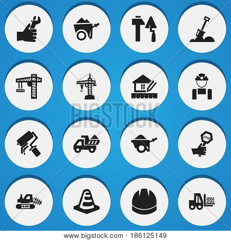 Set Of 16 Editable Structure Icons. Includes Symbols Such As Hardhat, Notice Object, Home Scheduling And More. Can Be Used For Web, Mobile, UI And Infographic Design.