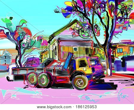 pleinair digital painting of rural landscape with car, house, trees and road from Kamenets-Podolsky town in Ukraine, contemporary art vector illustration