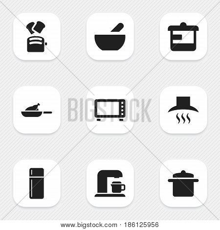 Set Of 9 Editable Food Icons. Includes Symbols Such As Cookware, Utensil, Refrigerator And More. Can Be Used For Web, Mobile, UI And Infographic Design.