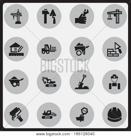 Set Of 16 Editable Construction Icons. Includes Symbols Such As Handcart , Facing, Trolley. Can Be Used For Web, Mobile, UI And Infographic Design.