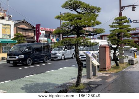 JAPAN, IWAKUNI, APRIL, 03, 2017 - Clean and beautiful streets in a Iwakuni town at Yamaguchi Prefecture, Japan.
