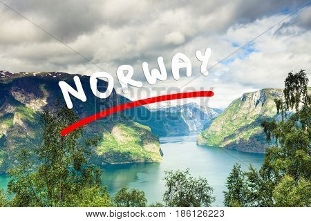 Tourism vacation and travel. Fantastic view of the Aurlandsfjord landscape from Stegastein viewpoint Norway Scandinavia. poster