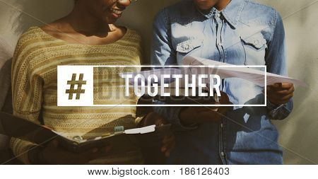 Friendship Togetherness Society Word Graphic Hashtag