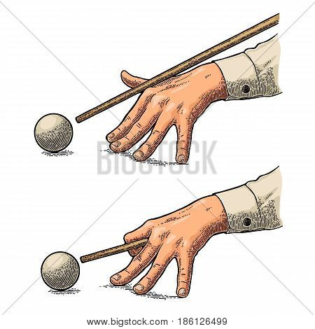 Male hand in a shirt is aimed cue at the ball. Vintage color engraving illustration for poster banner billiard club. Isolated on white background.