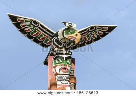 Old Traditional Wooden Totem Masks