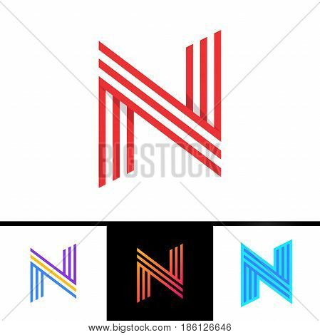 N Letter Formed By Parallel Lines. Vector Design Template Elements For Your Sport Application Or Cor