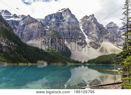 Lake Mountains Trees Landscape At Lake Moraine, Canada