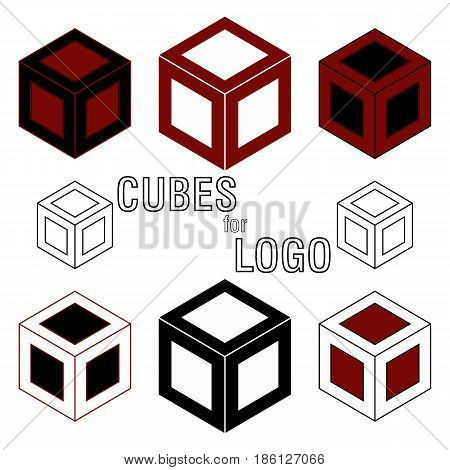 3d Cube isometric logo concept. Abstract square logo template. Corner geometric shape, symmetric symbol, square icon, box logo, box square shape. Company logo.