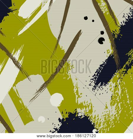 Vector ink drawing. Chaotic khaki color decoration. Brushstroke freehand drawing. Fresh textile popular art khaki