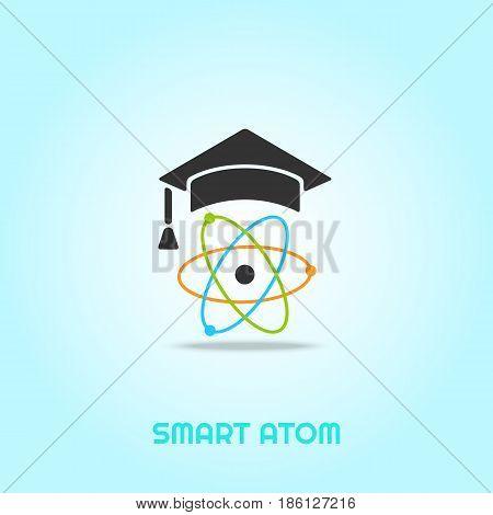 stylized education vector icon. Atom in education, graduation cap