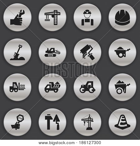 Set Of 16 Editable Construction Icons. Includes Symbols Such As Truck, Employee, Endurance And More. Can Be Used For Web, Mobile, UI And Infographic Design.