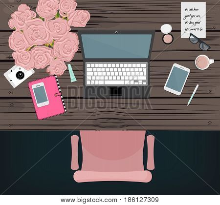 Online marketing blogger workspace. Vector desktop design. Online service equipment. Global media lifestyle office. Fashion worker space with table, computer, phone, notebook, flowers, cup of coffee