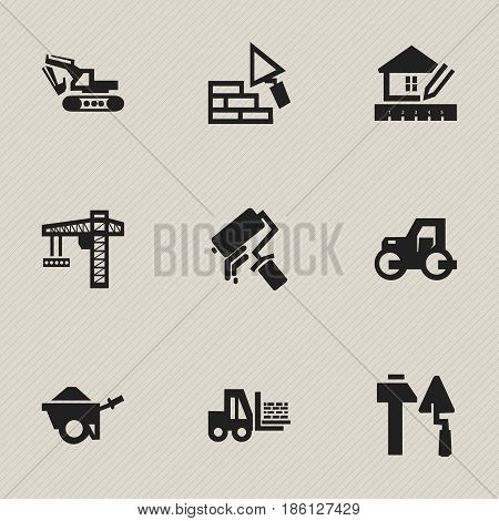 Set Of 9 Editable Structure Icons. Includes Symbols Such As Trolley, Scrub, Home Scheduling And More. Can Be Used For Web, Mobile, UI And Infographic Design.
