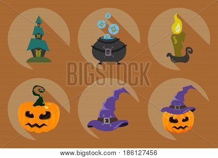 Set of halloween symbols: whitch pot,candle, pumpkin,hat