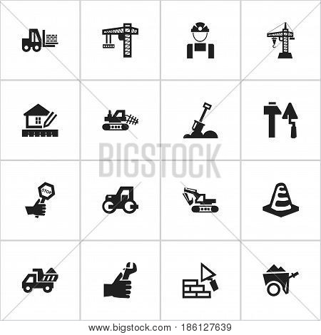 Set Of 16 Editable Construction Icons. Includes Symbols Such As Employee, Truck, Mule And More. Can Be Used For Web, Mobile, UI And Infographic Design.
